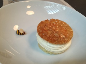 Bee sting cake: Sponge cake topped with apricot and whipped custard cream. Bee is an almond!