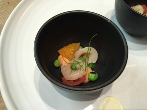 Scallop with vegetables from their garden