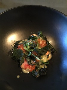 King crab, nettles, roe, small bits of lemon and butter sauce