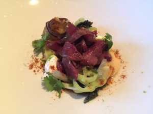 Grilled heart of veal, yellow peas, eggplant, cucumber, goat yoghurt, pickled vegetables