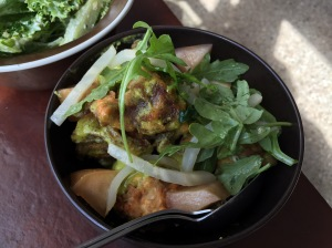 Deep fried pork, herb dressing, rocket and apple