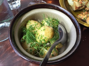 New potatoes with butter and herbs