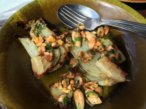 Roasted fennel with chopped almond and tarragon
