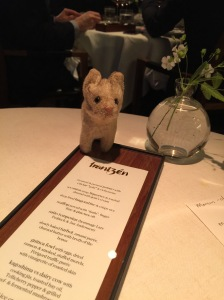 Frankie checked out the menu on the table
