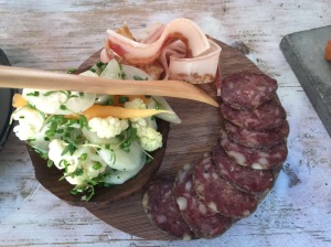 Cold cuts: homemade salami, pickled cauliflower and cucumbers, pork belly cured for a month