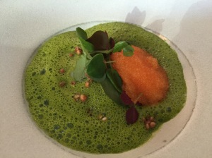 Poached duck egg, veloute of water cress, bleak roe