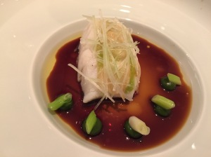 Steamed Pikeperch, butter, spring leek and young pickled ginger with stock of 10 year aged Kamebishi soy sauce
