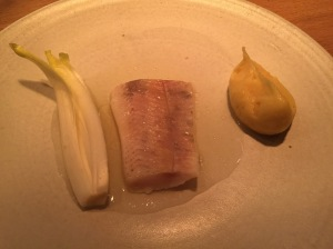 Trout, potato and chicory in a whey milk sauce