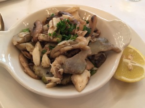 Crabmeat Yvonne: Louisiana jumbo lump crabmeat, artichoke hearts, mushrooms, green onions, meuniere sauce