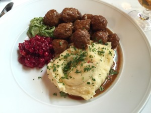 Famous meatballs served in a sauce of stock, cream, jelly and port wine with their own lingonberrries, pickled cucumber and potato puree