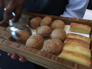 bread selection: seaweed bread, white roll, brioche