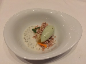 Lychee-shiso sorbet with soy milk and kalamansi