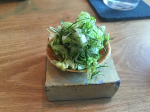 wild herb tart with pistacho puree
