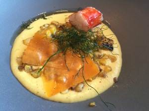 Grilled corn, veloute, king crab, szechuan pepper, mimolette