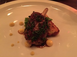 Pork shank with tomatillo verde, romano beans and bacon cornbread