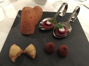 cherry, strawberry and mint(spoon); chocolate truffle; applesauce; hazelnut crisp