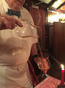 The after dinner plum brandy flaming show