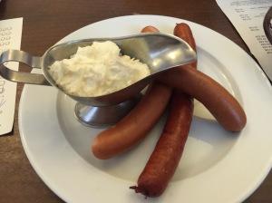 Sausages with horseradish cream