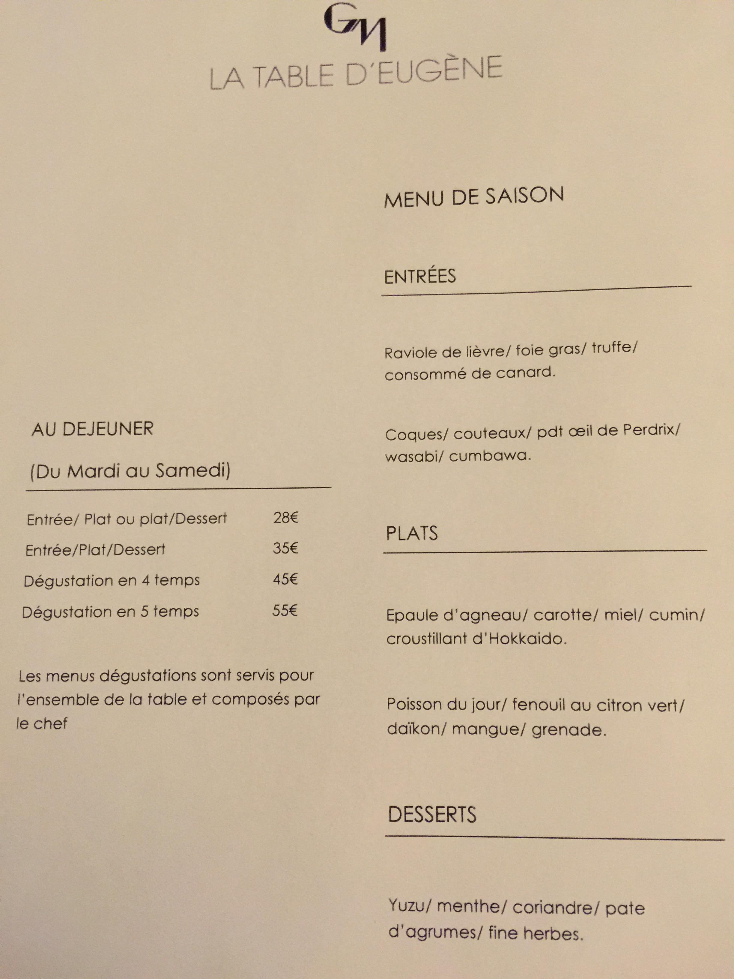 La Table D Eugene Paris 2 7 15 Dining With Frankie