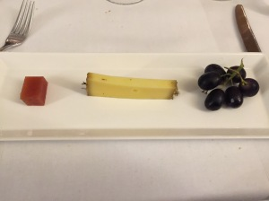 comte cheese, quince jelly and grapes