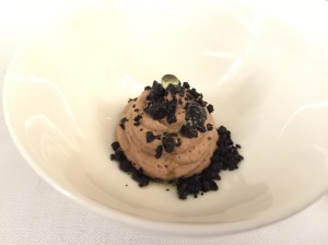 Chocolate mousse, olive oil and black olive crumble