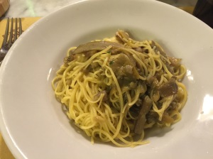 Taglierini with artichoke sauce