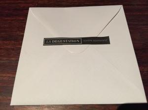 menu presented in envelope