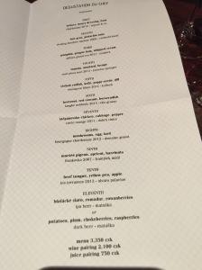Degustation du Chef menu