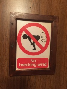 sign on the bathroom door!
