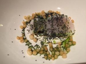 Trebon catfish, kefir, poppy seeds, dill