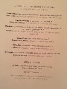 6 course menu