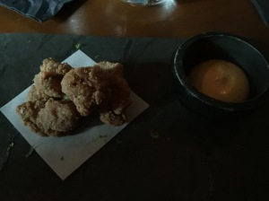 Sweetbread nuggets with caramelized orange aioli