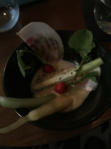 Crudites with bone marrow and chedar fondue and topped with Perigord Truffle