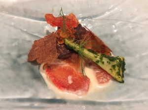 Steelhead trout with cured roe, burnt cream, artichoke, rye and grapefruit