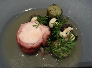 Rabbit with snails, stinging nettles and green garlic