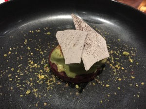 Beets with dark chocolate, pistachio and burnt vanilla