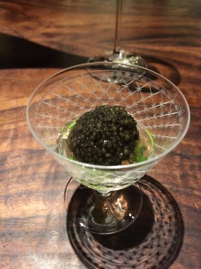 Caviar, plum, asparagus and bacon