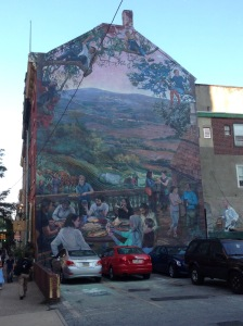 Mural on the side of the Vetri building. Chef is on the far right.