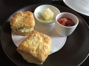 Hot buttermilk biscuits with spiced apple spread and butter