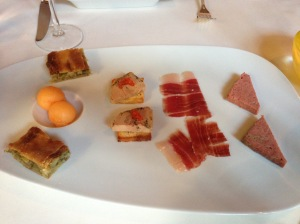 Amuse bouche: cantalope balls, vegetable tart, foie on brioche, Spanish ham, house sausage