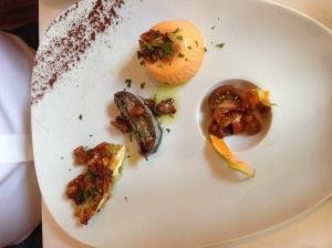 La Caponata: tomato flan, eggplant, tomato and pine nuts, olives