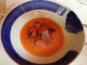 Watermelon and fluke crudo with watermelon soup