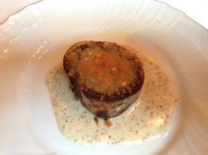 Sweet onion crepe wit truffle fondue