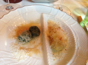 Spinach gnocchi with brown butter and Almond tortellini with truffle sauce