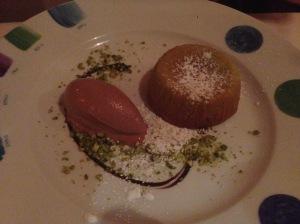 Pistachio flan with milk chocolate gelato