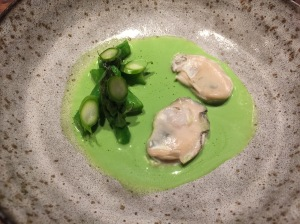 Poached oysters with asparagus and wheatgrass