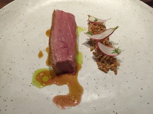 Aged duck grilled over charcoal, spouted wheatberries, radish, redwood