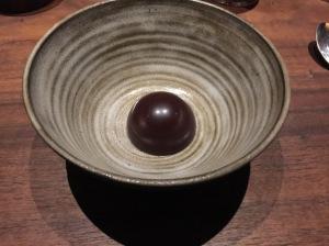 coconut cake with dark chocolate, pandan