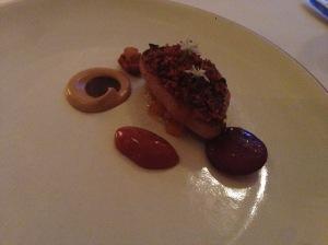 Foie gras brulee with raspberries, blackb erries and gooseberries