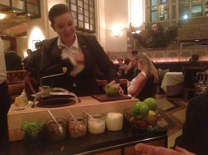 Table side preparation of Waldorf salad
